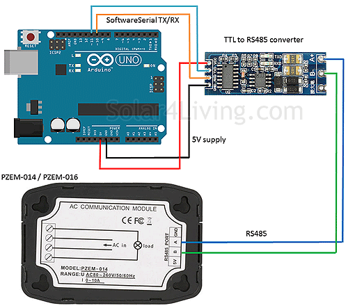 Arduino and PZEM-014 connection diagram